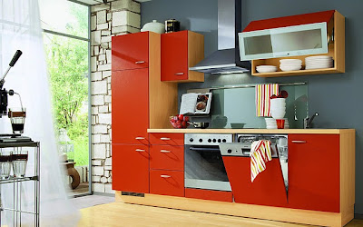 Modern kitchen designs in red for End of line kitchen units