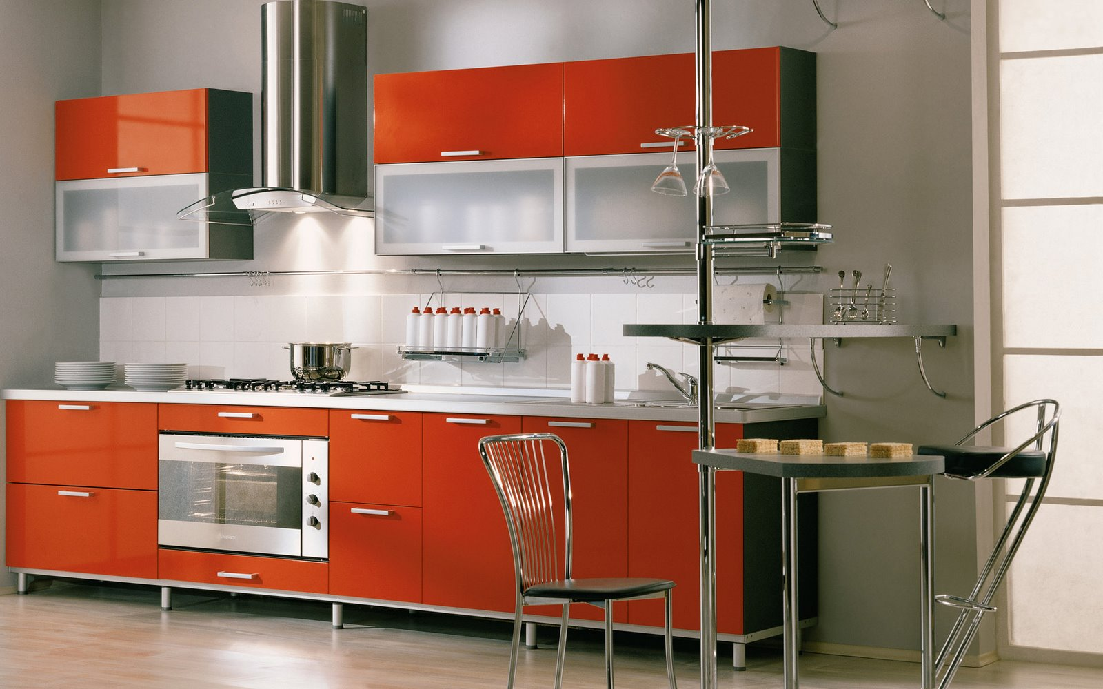 italian kitchen design red open layout fitted cabinets chrome chimney sleek modern elegant look