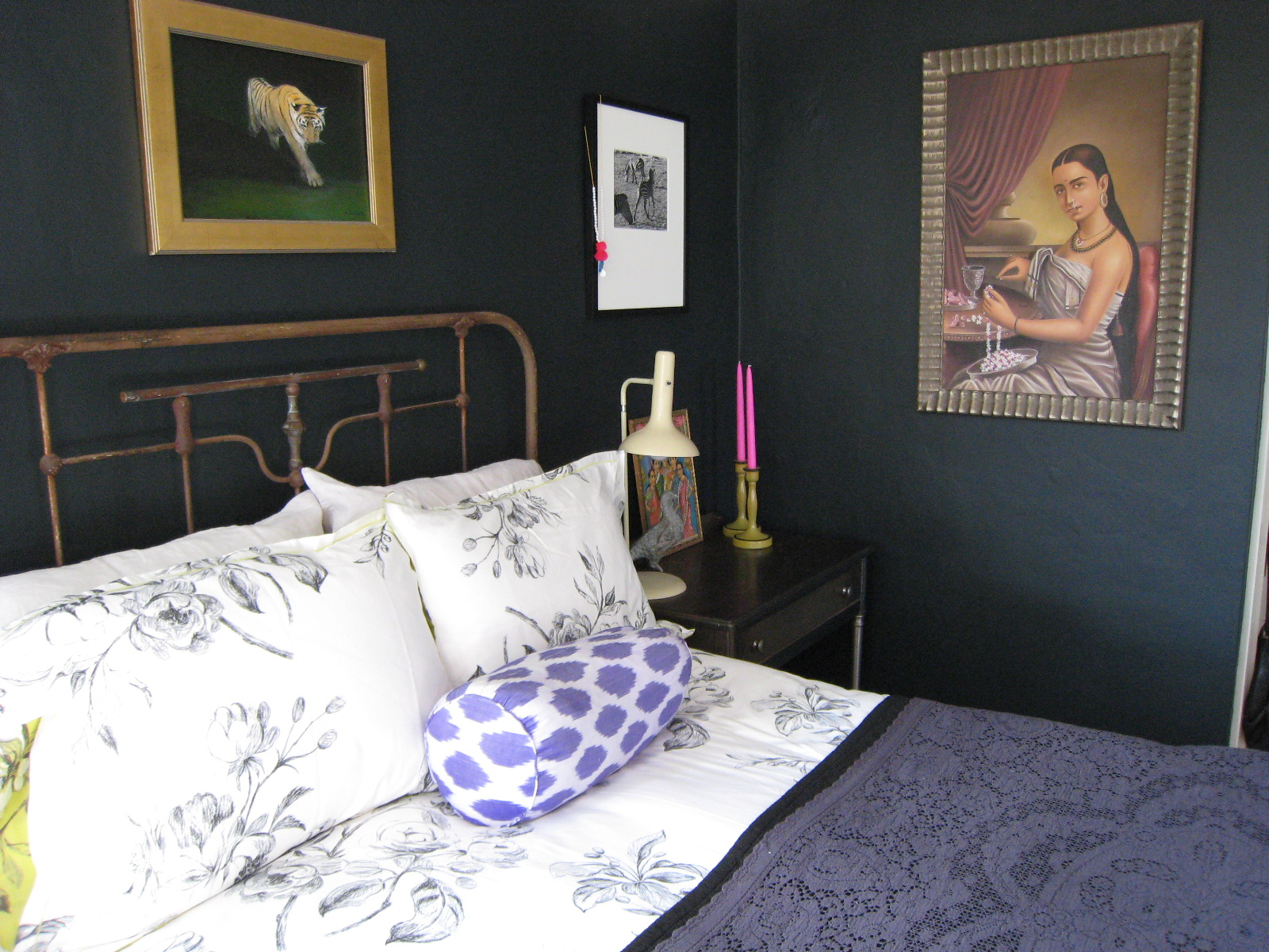 Out of paper farrow ball blue black for Dark bedroom walls
