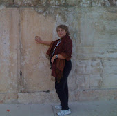 mary at the wall of the temple in Jerusalem