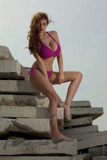 Jordan Carver trong bộ bikini màu tím chụp ảnh nóng