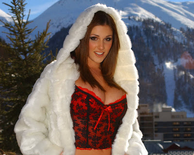 Lucy Pinder in Elegant White Snow Princess Robe Costume Model Photo Shoot Session