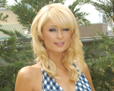 Paris Hilton in Chic Plaid Halter Dress Fashion Model Photo Shoot Session