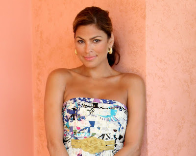 Eva Mendes in Trendy Floral Long Strapless Gown Dress Fashion Model Photo Shoot Session