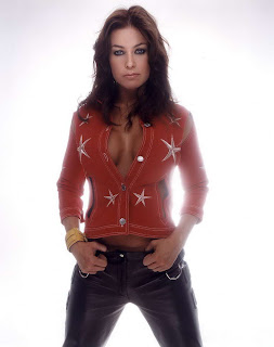 Carmen Electra in Cool Star Red Denim Jacket Fashion Model Photoshoot Session