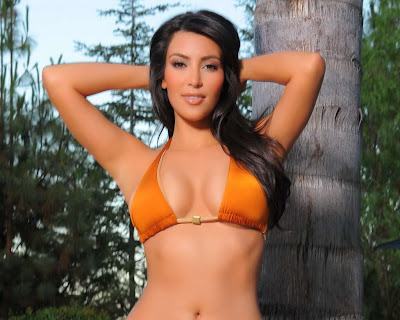 Kim Kardashian in Pretty Summer Bikini Beach Fashion Model Portrait Photo Shoot Session