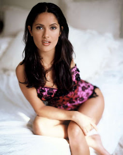 Salma Hayek in Sexy Pink Floral Fashion Model Photoshoot Session