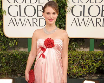 Natalie Portman in Pink Floral Victor & Rolf Gown at 2011 Golden Globe