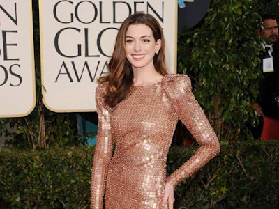 Anne Hathaway in Bronze Armani Privé Gown at 2011 Golden Globe Awards Anne
