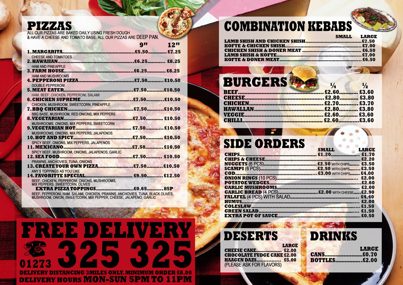 PIZZA CORNER Menu Card Designs