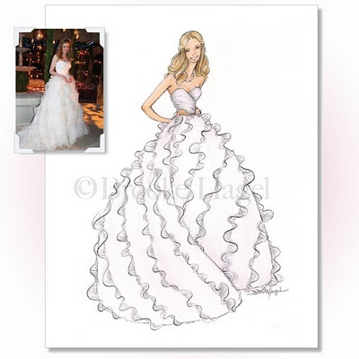 Bridal bubbly wedding dress art brooklit bride Wedding dress illustration