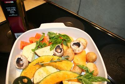 ... Pita Stuffed with Roasted Vegetables Accompanied by Pan Fried Halloumi