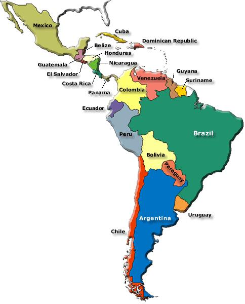 map of south america with capitals and countries. North american countries