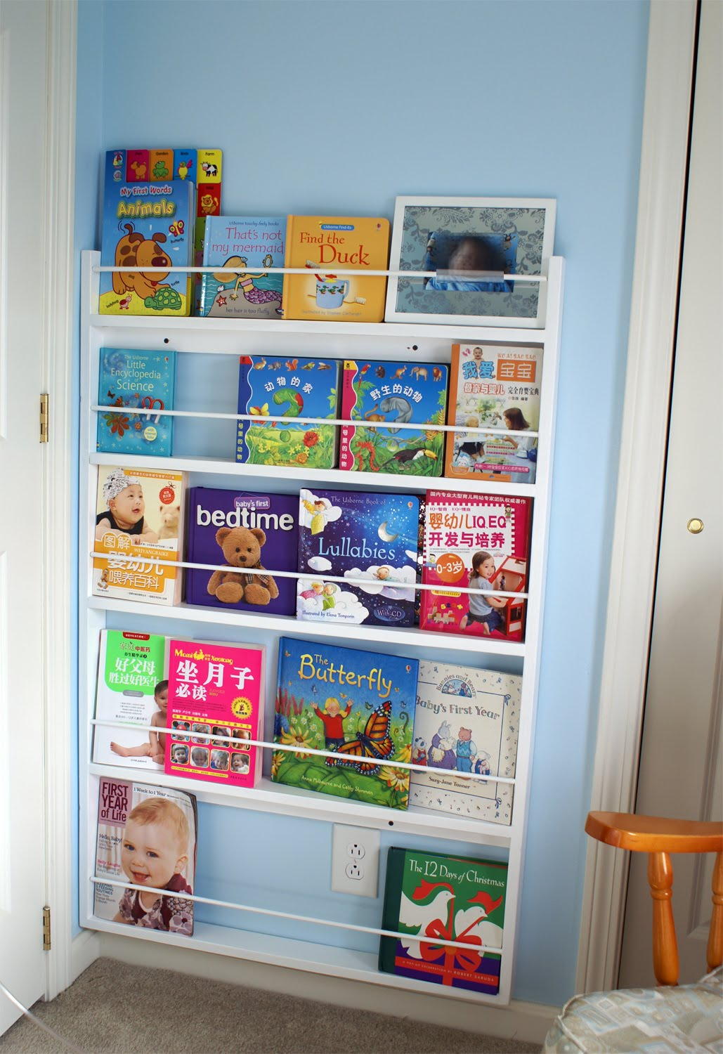 A Shallow Bookshelf To Custom Fit The Narrow Space Behind Door My Mom Painted It White Match Those Floating Shelves I Made Earlier