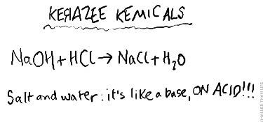 Salt and water: it's like a base, ON ACID!!!