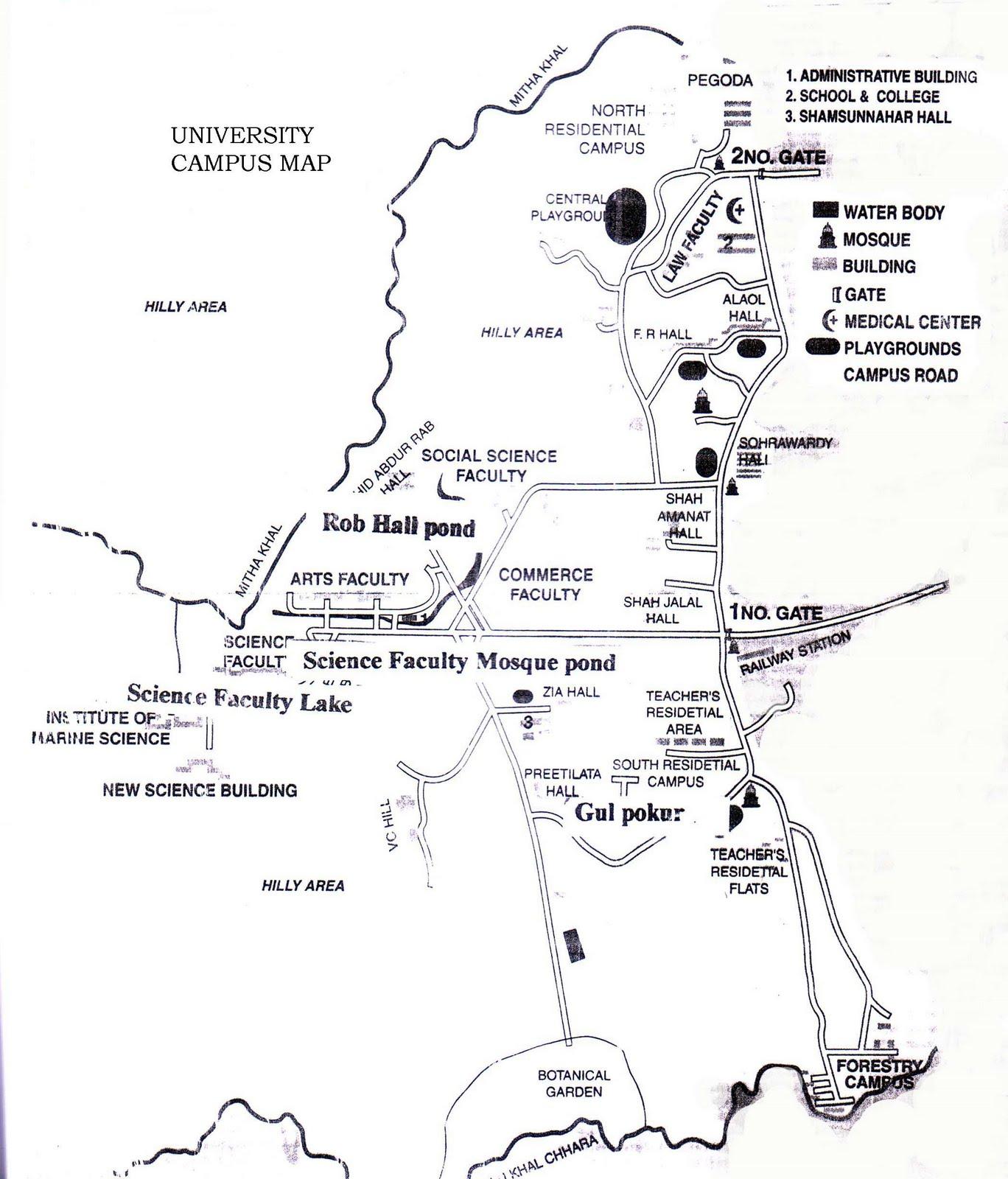 University Of Chittagong Chittagong University Map