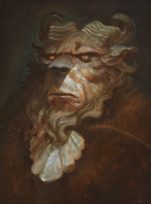Justin Gerard Oil Painting Portrait of a monster avarice milpond