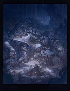 justin gerard illustration the hobbit bilbo and the three trolls