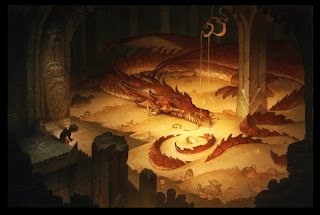 justin gerard illustration the hobbit bilbo smaug