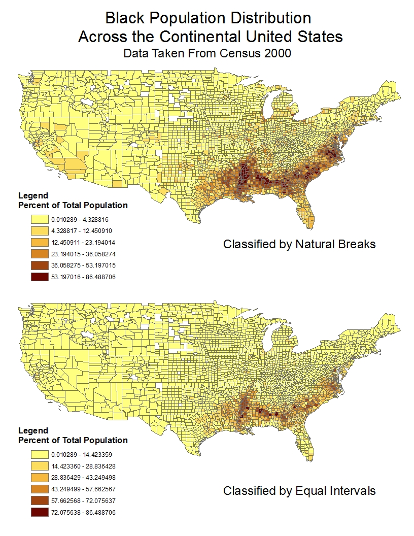 as seen in the above maps the black population across the united states is highly concentrated in the south both maps indicate a prominent black