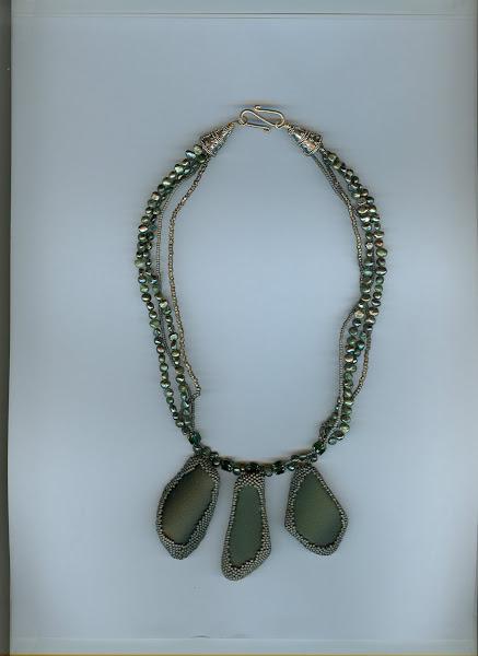 Green Beach Glass, Fresh Water pearls