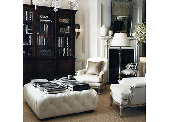 My Number One Pick Would Be This Amazing Ottoman Coffee Table From Ralph  Lauren Home But Wait   What Do We Think Of Too Much Tufting?