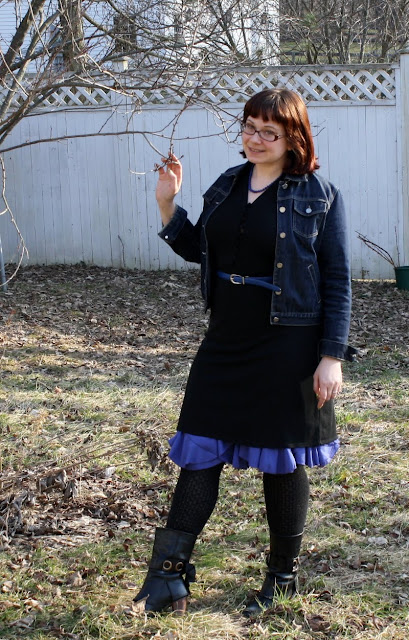 black and blue outfit, WIWT, denim jacket, dress, belt, skirt, OTK socks, boots