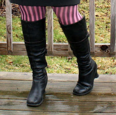 skirt, stripey stockings, boots, closeup