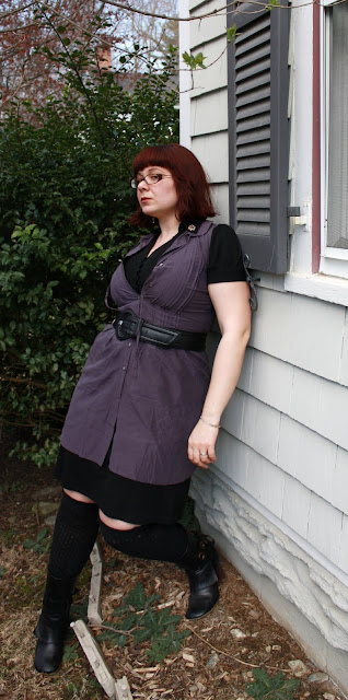 daily outfit, WIWT, layered dress, purple tunic, black dress, boots, belt, OTK socks