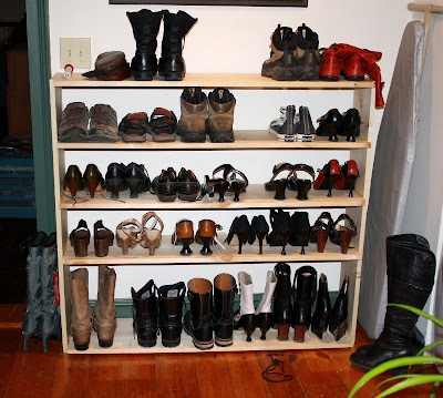 shoe rack, home built shoe storage system