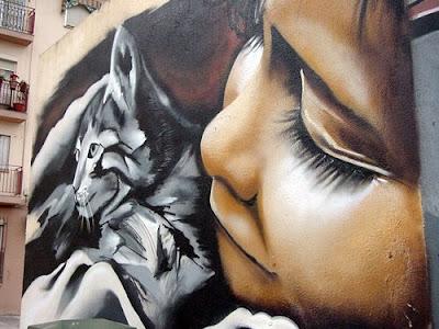 foto de graffiti con gato