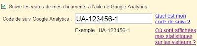 statistiques de fréquentation dans google docs