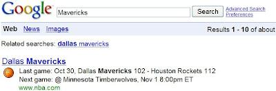 Une Google OneBox dédiée aux sports