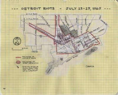 Ben Bertin 1967 Detroit Riot Map