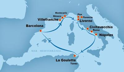 Resultado de imagen de itinerario cruceroBarcelona – Villefranche. Mónaco (Montecarlo) – Roma (Italia) – Nápoles (Italia) – La Goulette (Túnez) – Barcelona.
