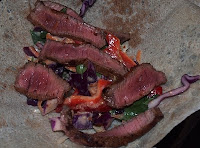 Chili Dusted Steak Wraps with Red Cabbage Slaw