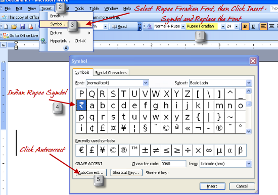 Net Tips 4 All How To Type Indian Rupee Symbol In Ms Word Using
