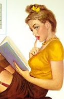 Pin-up girl reading