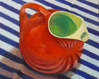 Little Red Ball Pitcher on Stripes