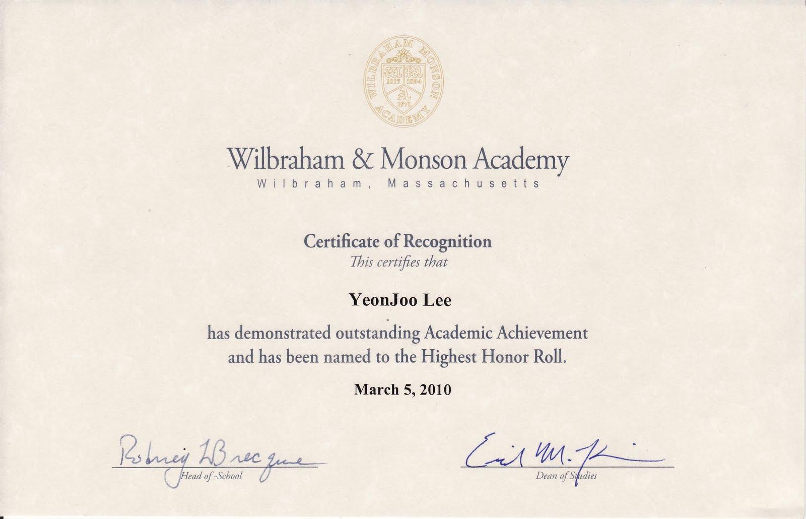 lee yeon joo academic achievement certificate 3 5 2010
