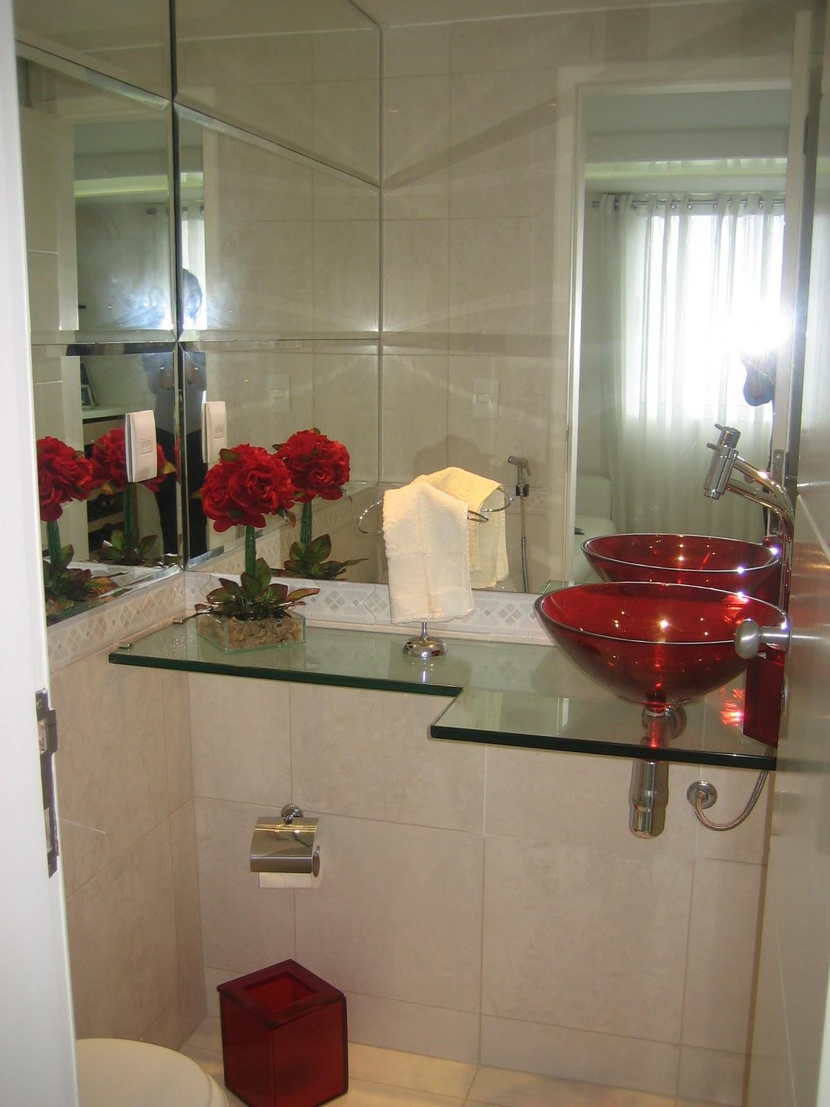 Espaço e Idéias  Arquitetura, Reforma e Construção Projeto Residencial e Am -> Decoracao De Banheiro Com Cuba Vermelha