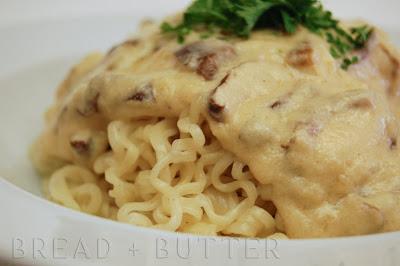 Bread + Butter: Ramen in Shiitake Alfredo Sauce