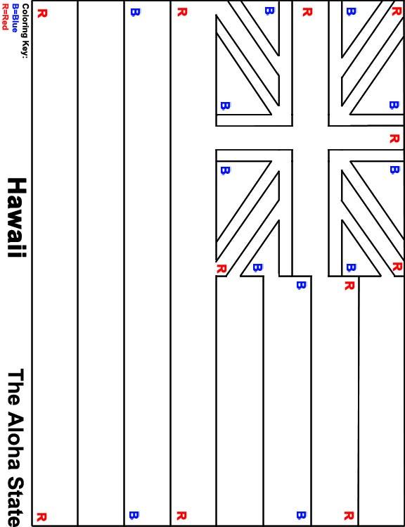 Origami N Stuff 4 Kids Hawaii The Aloha State Hawaiian Flag Coloring Page
