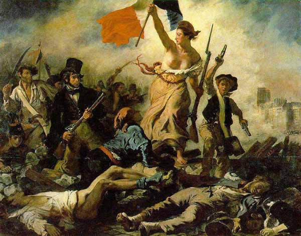 """... pueblo"""" por Eugene Delacroix, donde la figura principal es MARIANNE"""