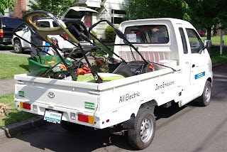 Clean air lawn care of portland adds electric truck for Garden maintenance van