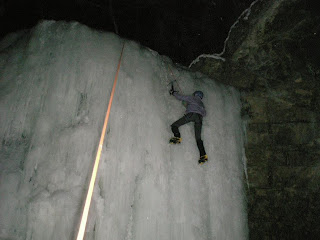 ice climbing at night