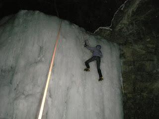 ice climbing at night