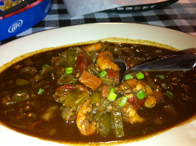 ... Cup Cakes: Southern Fried True Grit Cakes Smothered with Shrimp Gumbo
