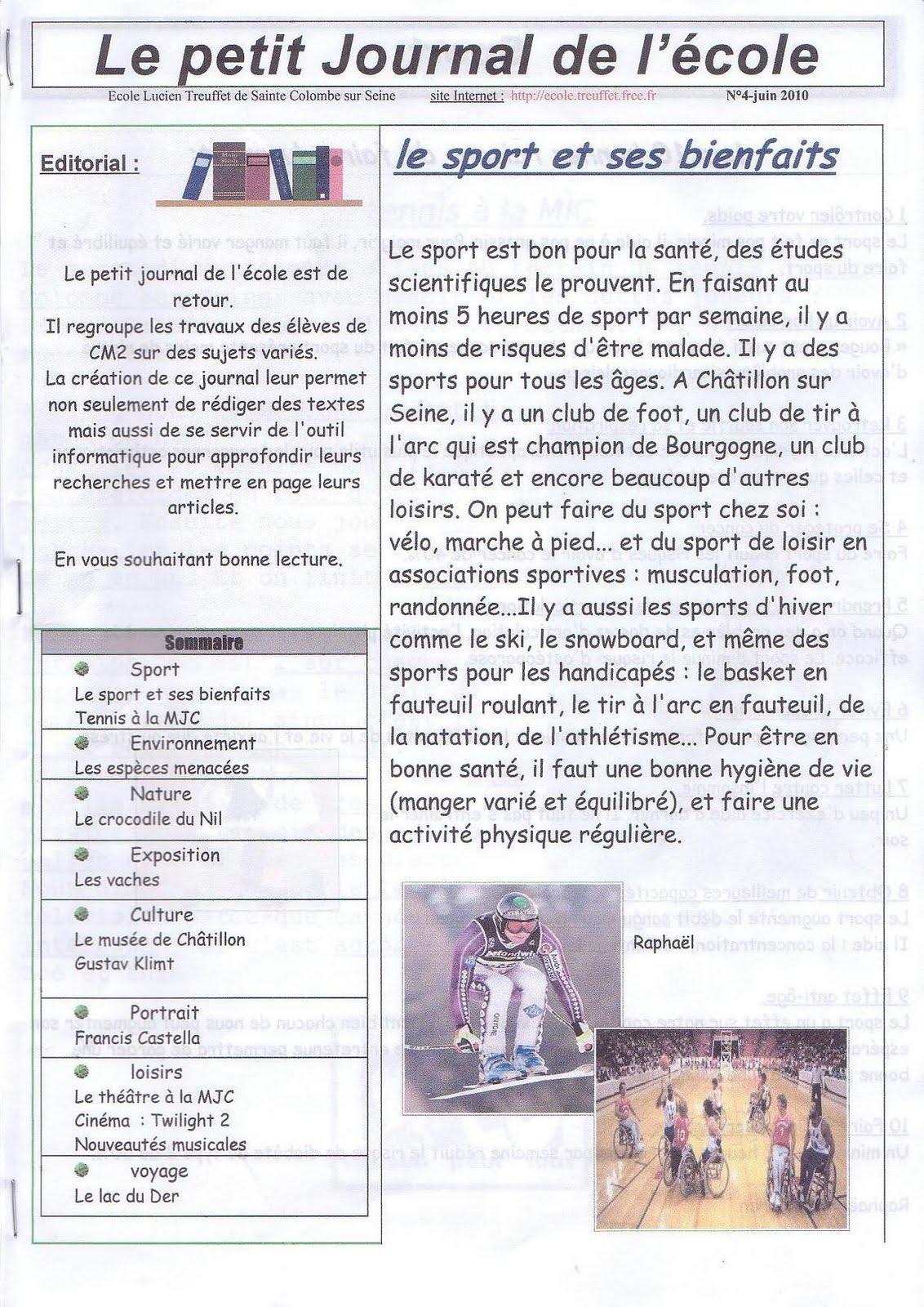 P le scolaire lucien treuffet le petit journal de l 39 cole - Le journal de l agence ...