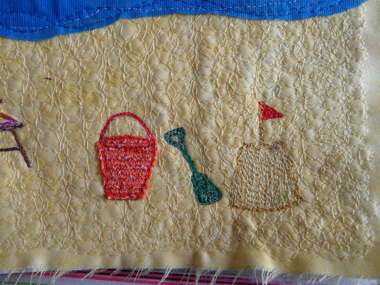 A Sand Castle And A Spadequite Fiddly To Embroider Neatly, But I Managed It